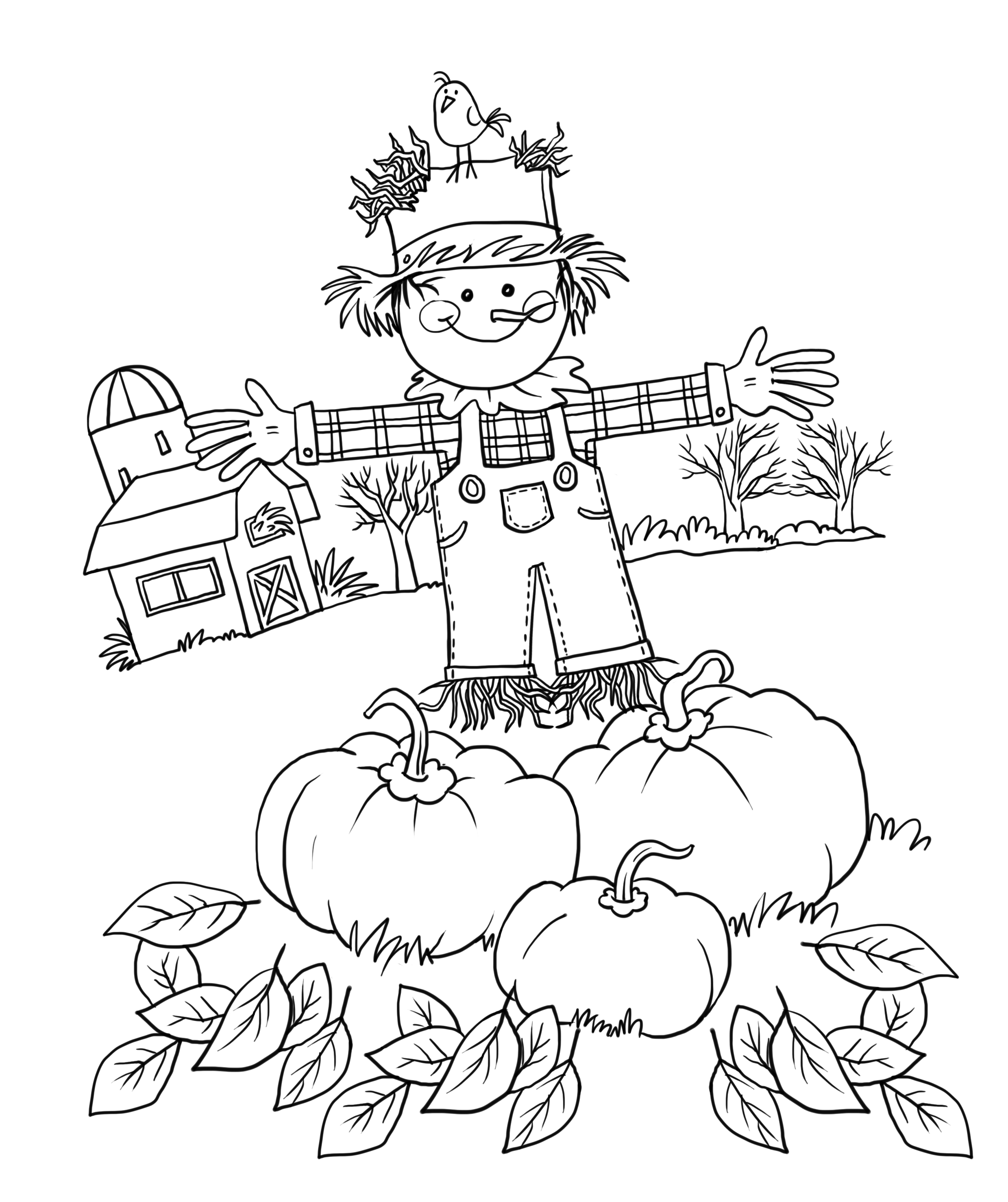 s is for scarecrow coloring pages - photo #32