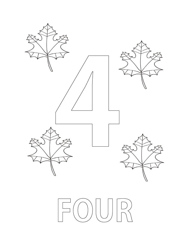 Number 4 Coloring Pages Printable Coloring Pages Number 4 Coloring Page