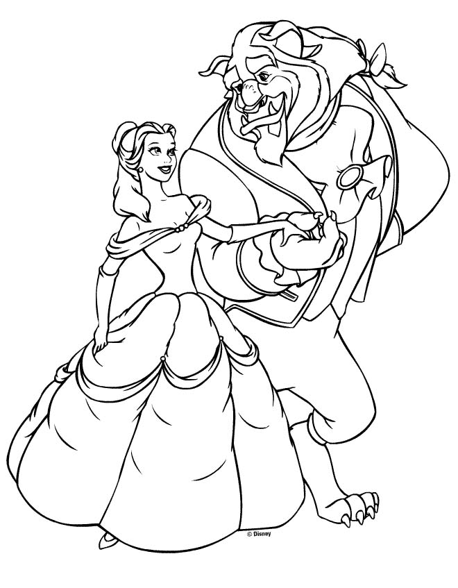 view coloring princess beauty beast belle 6