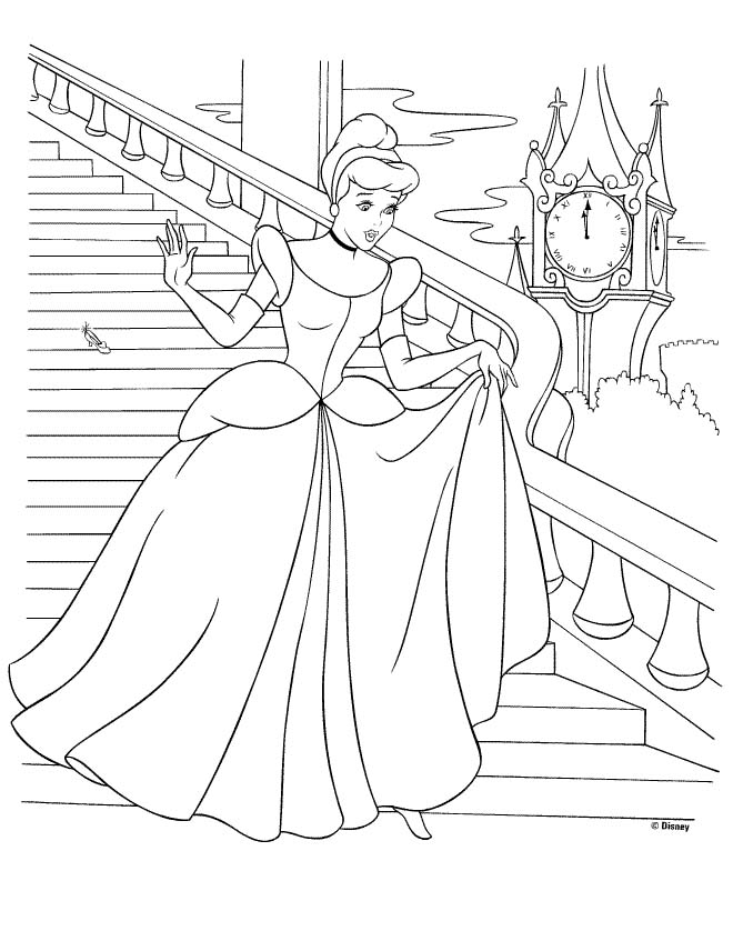 view coloring princess cinderella