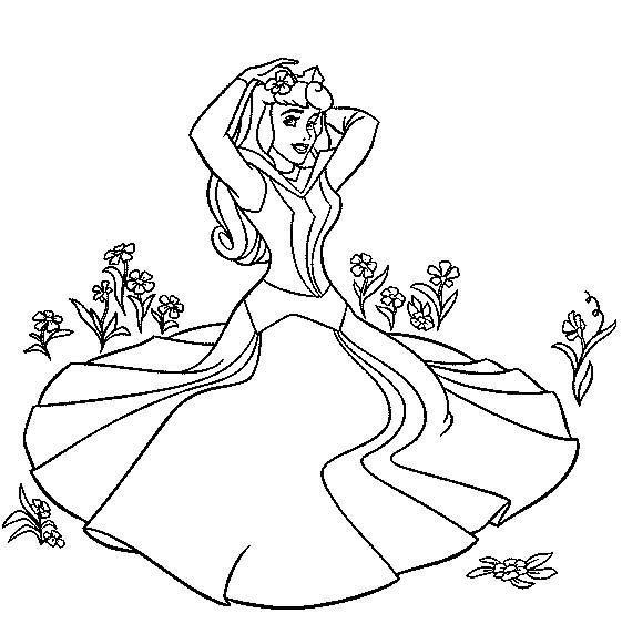view coloring princess sleeping beauty aurora 1