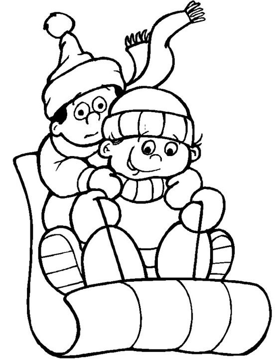 kids sledding winter