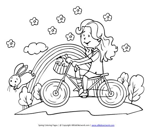 Riding Bike in Spring Coloring Page : All Kids Network