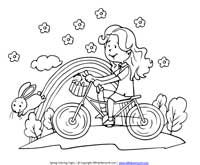 Riding Bike Coloring Page