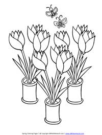 Spring Tulips Coloring Page