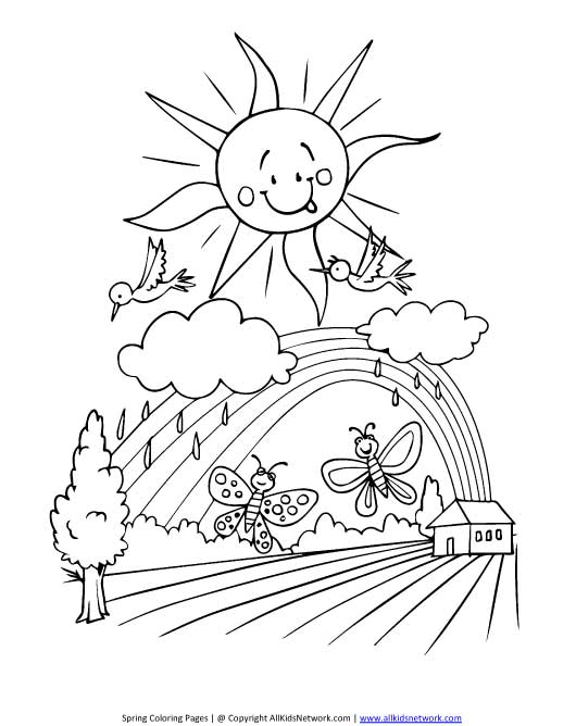 Free Spring Scenes Coloring Pages