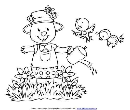 watering flowers coloring pages - photo#21