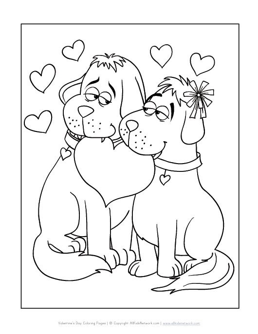 Dogs Valentine's Day Coloring Page | All Kids Network