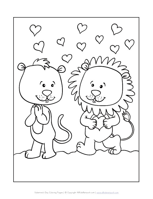 valentine coloring pages lion - photo#9