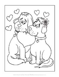 dogs valentine's day coloring page