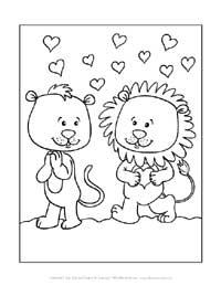 lions valentine's day coloring page
