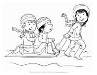 winter kids sledding coloring page