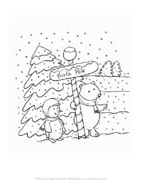 winter north pole coloring page