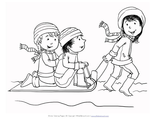 sledding coloring pages for kids - photo#9