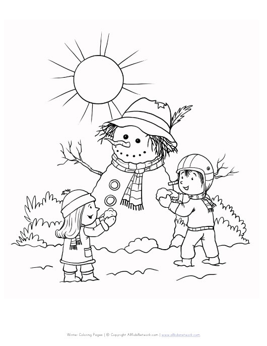 View and print your free winter snowman coloring page