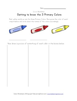Primary Colors Worksheet Kids Learning Station