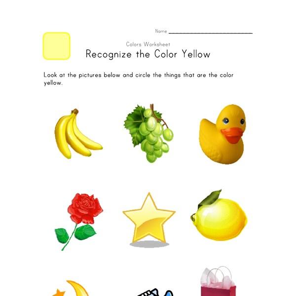 recognize the color yellow colors worksheet for kids all kids network. Black Bedroom Furniture Sets. Home Design Ideas