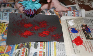 baby painting fireworks craft