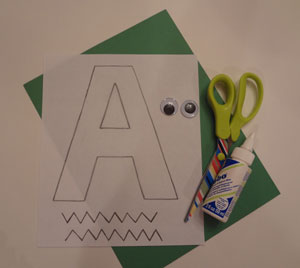 letter a alligator craft materials