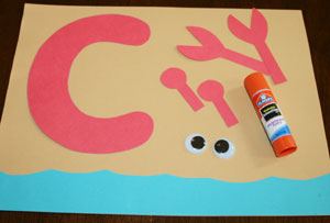 letter c crab craft pieces