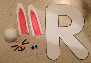letter r rabbit craft materials