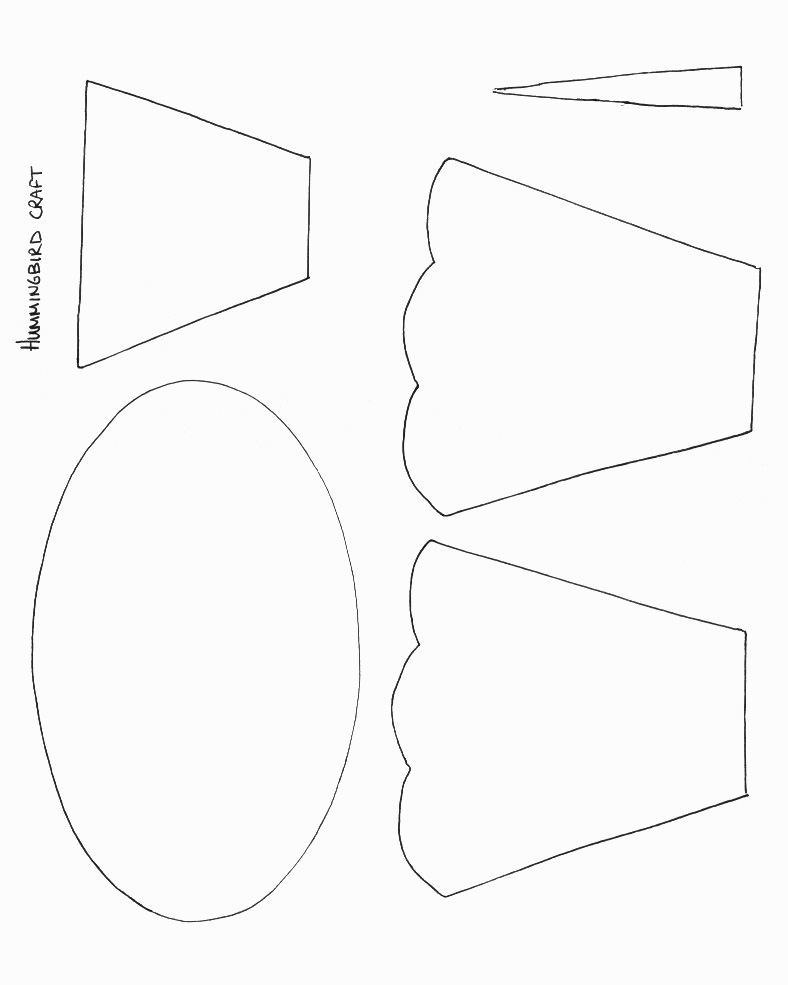 Top hummingbird template printable images for pinterest for Papercraft bird template