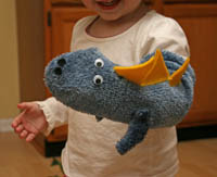 how to make a dinosaur sock puppet