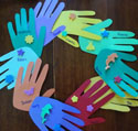hand print classroom wreath craft