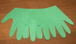handprint christmas tree step 1