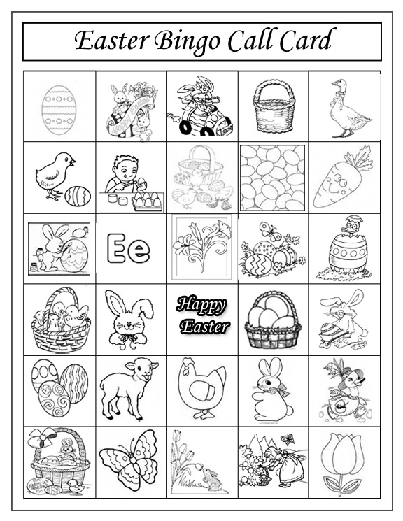Easter Bingo Call Card No Hassle Lifestyle