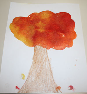 colored sand fall tree craft