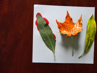 kids painted fall leaves craft