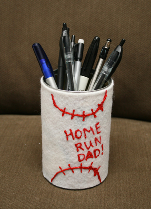 fathers day baseball pen holder