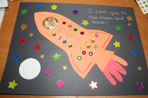 Kids Craft Ideas Rockets on Decorate The Picture We Used Sequins On The Rocket And Star Stickers