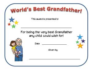 worlds best grandfather certificate