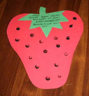 mothers day strawberry card craft
