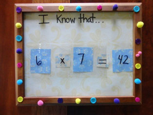 math facts dry erase board craft