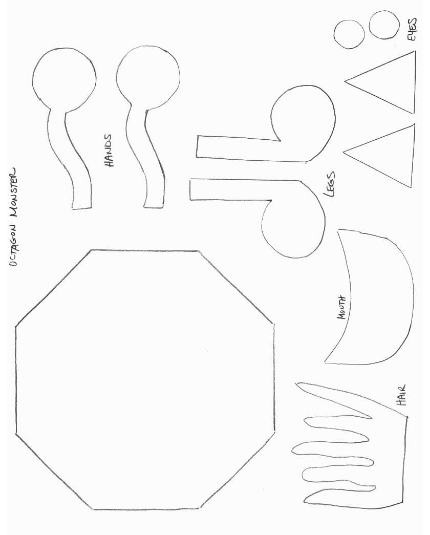 Shapes crafts print your octagon monster template all for Mosnter template