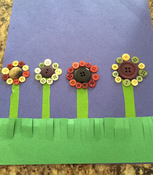 button flowers craft step 4