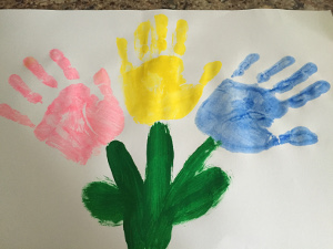 handprint flowers craft step 4