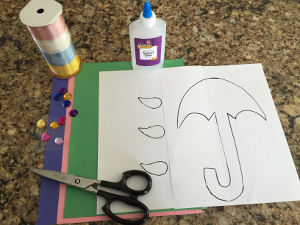 rainy day umbrella craft materials