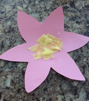 tissue paper flower craft step 2
