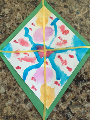 watercolor kite craft step 4