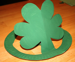paper plate shamrock hat craft
