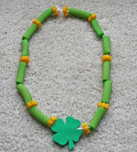 St. Patrick's Day Pasta Necklace Finished