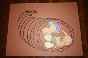 making thanksgiving cornucopia