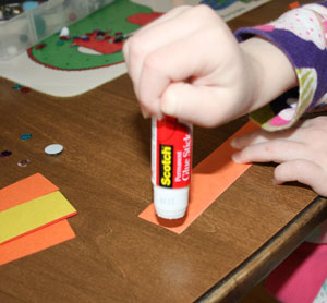 gluing turkey craft