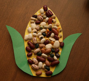 dried bean indian corn craft