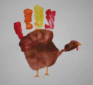 paint handprint turkey craft