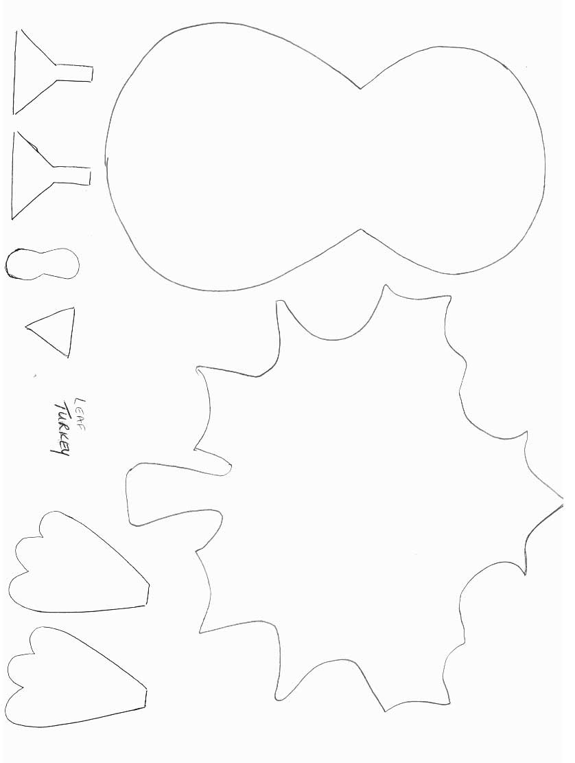 Turkey template for Thanksgiving craft templates printable